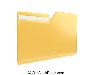 Yellow file folder 3d illustration icon isolated on white