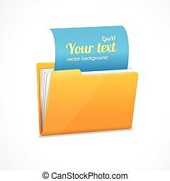Yellow file folder icon isolated on white