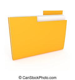 Yellow File Folder isolated on white
