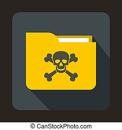 Yellow file folder with a skull icon, flat style