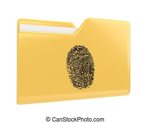 Yellow file folder with fingerprint 3d illustration icon isolated on white