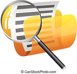 Yellow file folder with magnifying glass icon isolated on...