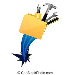 yellow file with tools and hole icon