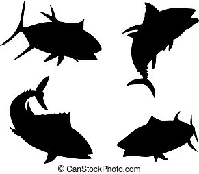 Yellow Fin Tuna Fish Silhouette - Illustration of a yellow...