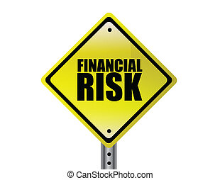 Yellow Financial Risk street sign concept over a white background