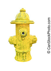 Yellow fire hydrant isolated on white