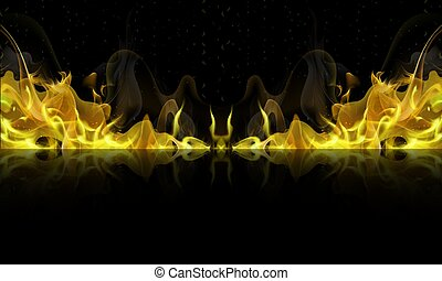 yellow fire with reflection on a black background