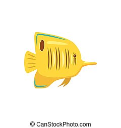 Yellow fish icon, cartoon style