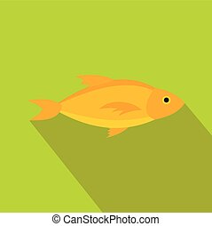 Yellow fish icon in flat style