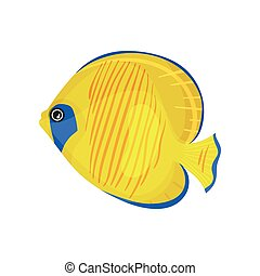 Yellow fish with blue spots. Vector illustration on white background.