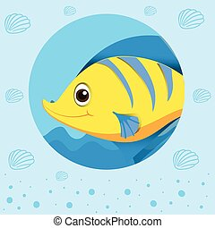 Yellow fish with happy face