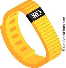 Yellow fitness tracker icon, isometric style