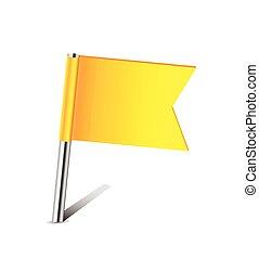Yellow flag pin on white