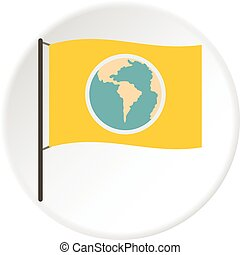 Yellow flag with the image of the globe icon