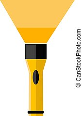 Yellow flashlight, illustration, vector on white background.