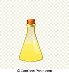 Yellow flask icon, cartoon style