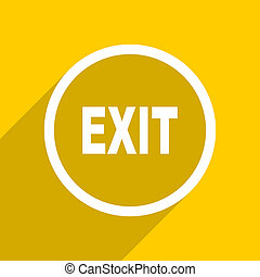 yellow flat design exit modern web icon for mobile app and internet