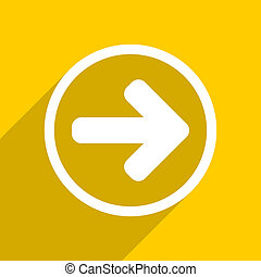 yellow flat design right arrow modern web icon for mobile app and internet