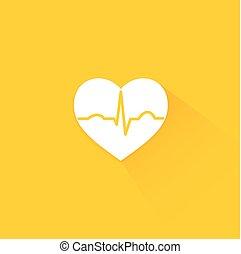 Yellow flat long shadow cardiology icon