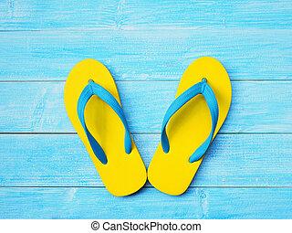b6d36f6f3 Sandal or flip-flop blue color on wooden staircase. Vintage sandal ...