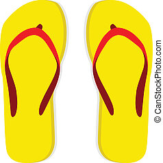 Yellow flip flop with red striped on white