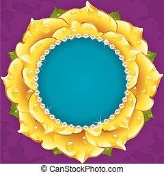 Yellow Floral Circle Frame