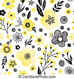 Yellow floral pattern - Floral seamless pattern design....