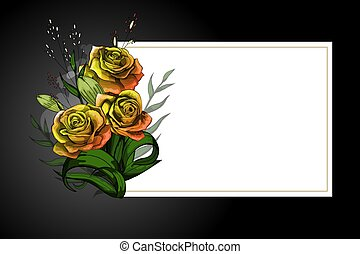Yellow flower bouquet on white frame with black border...