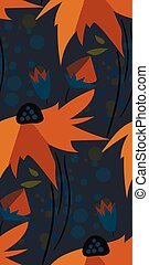 yellow flower dark seamless pattern vector floral design primitive scandinavian