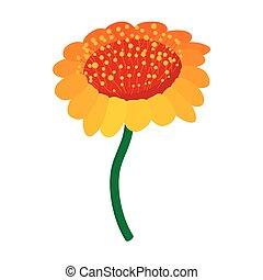 Yellow flower icon, cartoon style