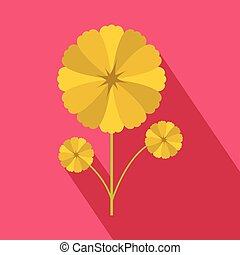 Yellow flower icon in flat style