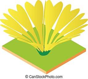 Yellow flower icon, isometric style