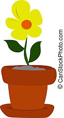 Yellow flower, illustration, vector on white background.