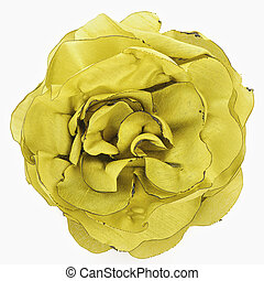 Artificial yellow flower of silk isolated on white background