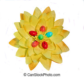 Yellow flower with egg easter.