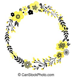 Yellow flower wreath - Floral decorativ frame. Yellow...