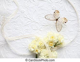 yellow flowers, butterfly, ribbon