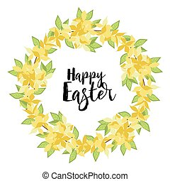 Yellow flowers card Happy Easter