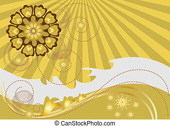Yellow flowers curved track on the