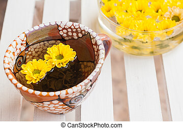 yellow flowers in a cup of tea