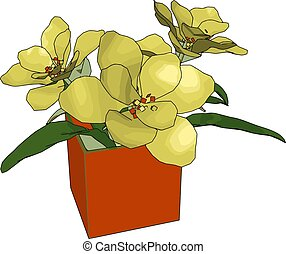 Yellow flowers in a pot, illustration, vector on white background.