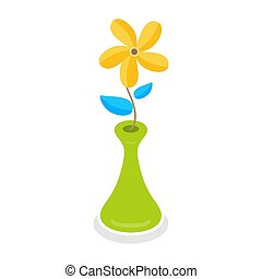 Yellow flowers in the green vase isolated on white background, vector illustration