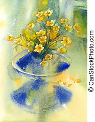 yellow flowers in vase watercolor