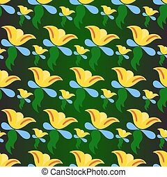 Yellow flowers on a green background vector illustration