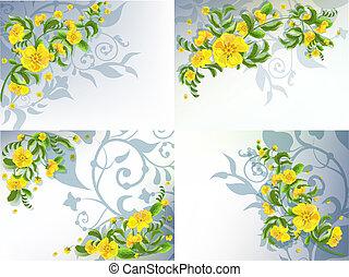 Yellow flowers set
