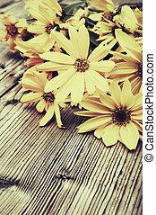 Yellow Flowers - Vintage Look