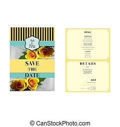 yellow flowers wedding invitation template
