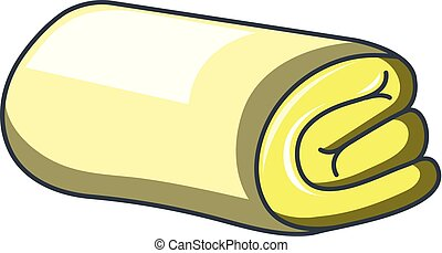 Yellow folded towel icon, cartoon style