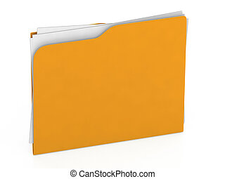 Yellow folder - 3d file -  Icon isolated on white background