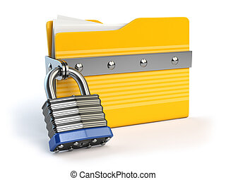 Yellow folder and lock. Data and privacy security concept. Information protection.